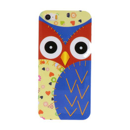 Blauw Uil Hard case cover hoesje voor Apple iPhone 5/5s/SE