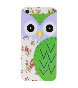 Groen Uil Hard case cover hoesje voor Apple iPhone 5/5s/SE