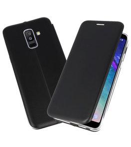 Zwart Premium Folio Booktype Hoesje voor Samsung Galaxy A6 Plus 2018
