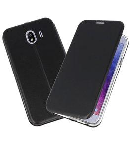 Zwart Premium Folio Booktype Hoesje voor Samsung Galaxy J42018