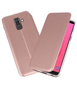 Roze Premium Folio Booktype Hoesje voor Samsung Galaxy J8 2018