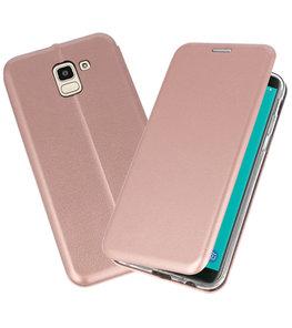 Roze Premium Folio Booktype Hoesje voor Samsung Galaxy J6 2018