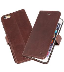 Mocca Rico Vitello Echt Leren Bookstyle Wallet Hoesje voor iPhone 6Plus / 6sPlus