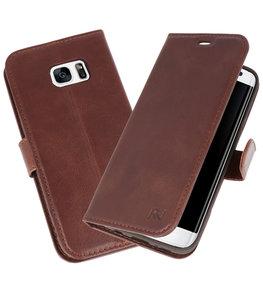 Mocca Rico Vitello Echt Leren Bookstyle Wallet Hoesje voor Samsung Galaxy S7 Edge