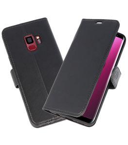 Zwart Rico Vitello Echt Leren Bookstyle Wallet Hoesje voor Samsung Galaxy S9