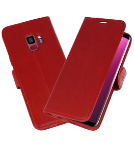 Rood Rico Vitello Echt Leren Bookstyle Wallet Hoesje voor Samsung Galaxy S9