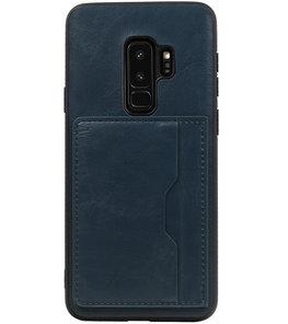 Navy Staand Back Cover 2 Pasjes Hoesje voor Samsung Galaxy S9 Plus