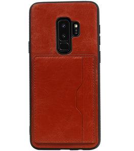 Bruin Staand Back Cover 2 Pasjes Hoesje voor Samsung Galaxy S9 Plus