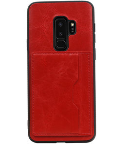 Rood Staand Back Cover 2 Pasjes Hoesje voor Samsung Galaxy S9 Plus