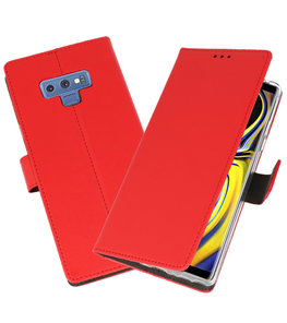 Rood Wallet Cases Hoesje voor Samsung Galaxy Note 9