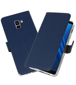 Navy Wallet Cases Hoesje voor Samsung Galaxy A8 Plus 2018