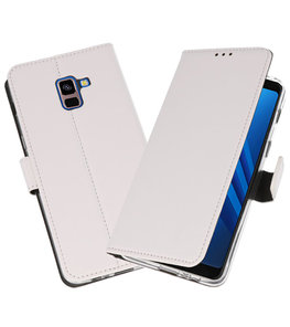 Wit Wallet Cases Hoesje voor Samsung Galaxy A8 Plus 2018