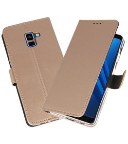 Goud Wallet Cases Hoesje voor Samsung Galaxy A8 Plus 2018