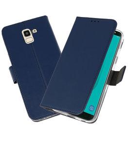 Navy Wallet Cases Hoesje voor Samsung Galaxy J6 2018