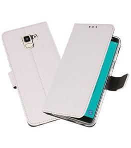 Wit Wallet Cases Hoesje voor Samsung Galaxy J6 2018