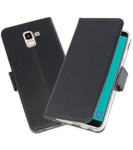 Zwart Wallet Cases Hoesje voor Samsung Galaxy J6 2018