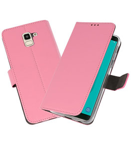 Roze Wallet Cases Hoesje voor Samsung Galaxy J6 2018