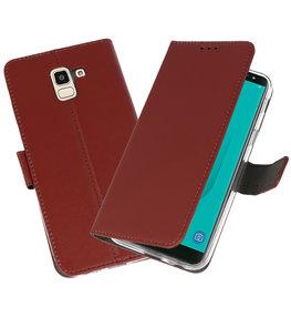 Bruin Wallet Cases Hoesje voor Samsung Galaxy J6 2018