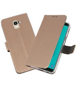 Goud Wallet Cases Hoesje voor Samsung Galaxy J6 2018