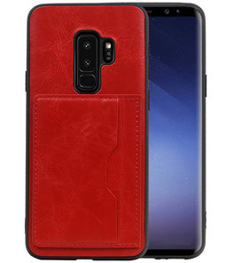 Rood Staand Back Cover 1 Pasje Hoesje voor Samsung Galaxy S9 Plus