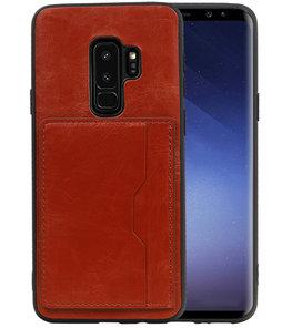 Bruin Staand Back Cover 1 Pasje Hoesje voor Samsung Galaxy S9 Plus