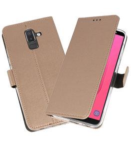 Goud Wallet Cases Hoesje voor Samsung Galaxy J8
