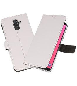 Wit Wallet Cases Hoesje voor Samsung Galaxy J8