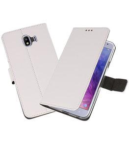 Wit Wallet Cases Hoesje voor Samsung Galaxy J4 2018
