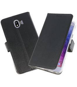 Zwart Wallet Cases Hoesje voor Samsung Galaxy J4 2018