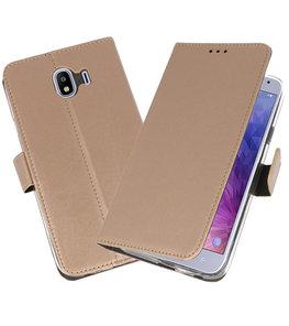 Goud Wallet Cases Hoesje voor Samsung Galaxy J4 2018