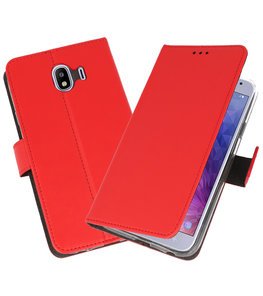Rood Wallet Cases Hoesje voor Samsung Galaxy J4 2018