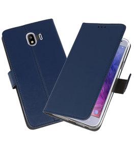 Navy Wallet Cases Hoesje voor Samsung Galaxy J4 2018
