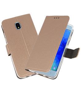 Goud Wallet Cases Hoesje voor Samsung Galaxy J3 2018