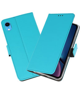 Blauw Wallet Cases Hoesje voor iPhone XR