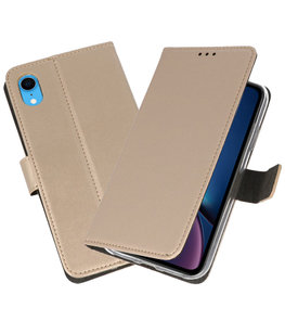 Goud Wallet Cases Hoesje voor iPhone XR
