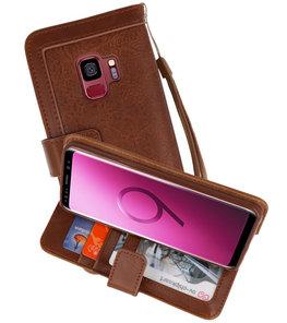 Luxe Portemonnee Telefoonhoesje voor Galaxy S9 Bruin