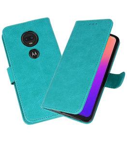 Bookstyle Wallet Cases Hoesje voor Moto G7 Groen