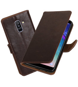 Hoesje voor Samsung Galaxy A6 Plus 2018 Pull-Up Booktype Mocca