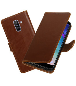 Hoesje voor Samsung Galaxy A6 Plus 2018 Pull-Up Booktype Bruin
