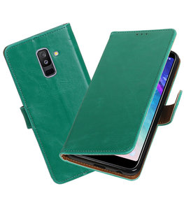 Hoesje voor Samsung Galaxy A6 Plus 2018 Pull-Up Booktype Groen