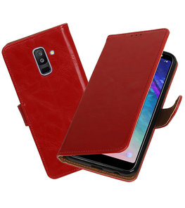 Hoesje voor Samsung Galaxy A6 Plus 2018 Pull-Up Booktype Rood