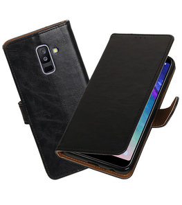 Hoesje voor Samsung Galaxy A6 Plus 2018 Pull-Up Booktype Zwart
