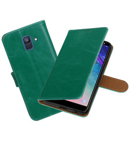 Hoesje voor Samsung Galaxy A6 2018 Pull-Up Booktype Groen