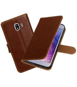 Hoesje voor Samsung Galaxy J4 Pull-Up Booktype Bruin