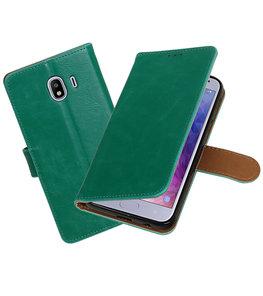 Hoesje voor Samsung Galaxy J4 Pull-Up Booktype Groen