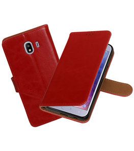 Hoesje voor Samsung Galaxy J4 Pull-Up Booktype Rood