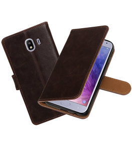 Hoesje voor Samsung Galaxy J4 Pull-Up Booktype Mocca