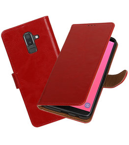 Hoesje voor Samsung Galaxy J8 Pull-Up Booktype Rood