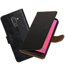 Hoesje voor Samsung Galaxy J8 Pull-Up Booktype Zwart