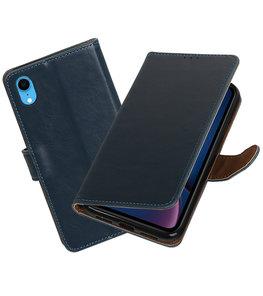 Hoesje voor iPhone XR Pull-Up Booktype Blauw